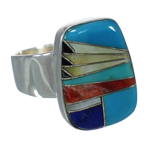 Multicolor And Silver Southwestern Ring Size 8-3/4 YX74929