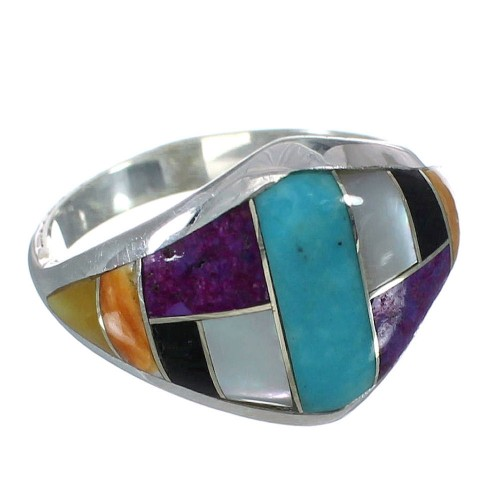 Sterling Silver Southwest Multicolor Ring Size 6-1/4 YX74985