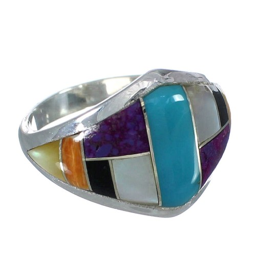 Authentic Sterling Silver Southwest Multicolor Ring Size 6-1/4 YX74997