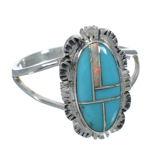 Turquoise And Opal Inlay Sterling Silver Southwest Ring Size 7 WX70255