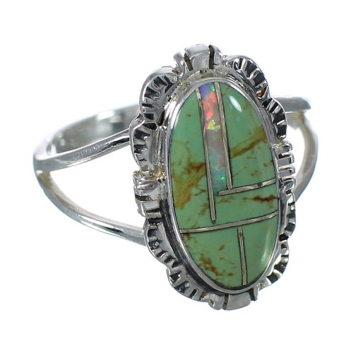 Southwest Sterling Silver Turquoise Opal Ring Size 6-1/4 WX70365