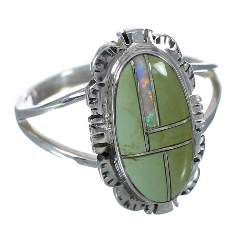 Turquoise Opal Sterling Silver Southwestern Ring Size 7 WX70370