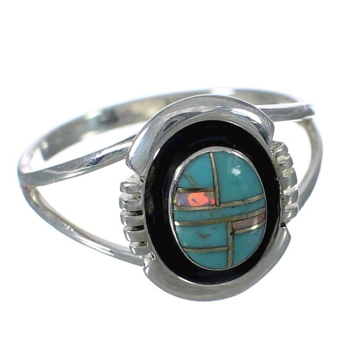 Southwest Turquoise And Opal Genuine Sterling Silver Ring Size 7-3/4 WX70459