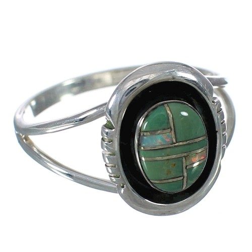 Southwest Silver Turquoise And Opal Inlay Ring Size 8-1/4 WX70577