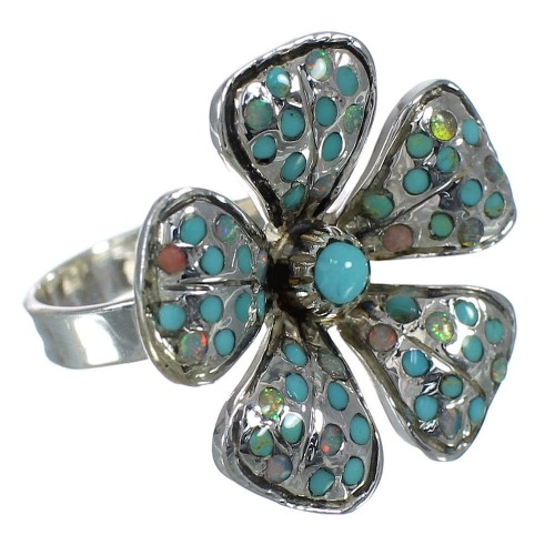 Turquoise And Opal Sterling Silver Flower Ring Size 7 WX70635
