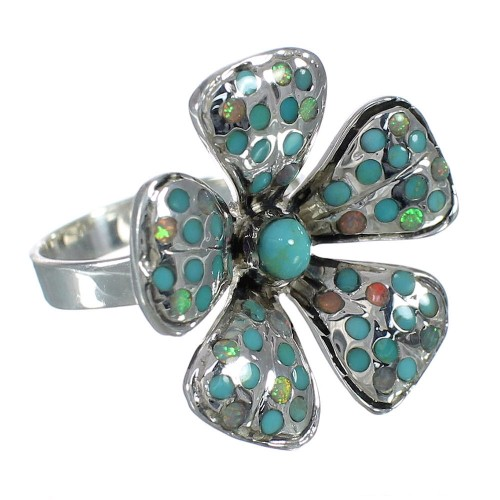 Sterling Silver Flower Turquoise And Opal Ring Size 7 WX70639
