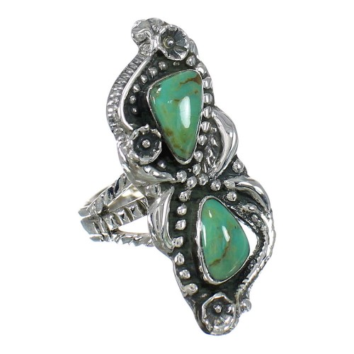 Southwest Turquoise Authentic Sterling Silver Ring Size 4-3/4 RX62937