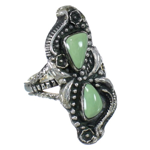 Turquoise Southwestern Sterling Silver Ring Size 8-1/4 RX62962