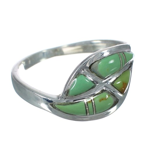Sterling Silver Southwestern Turquoise Inlay Ring Size 8-3/4 WX62923