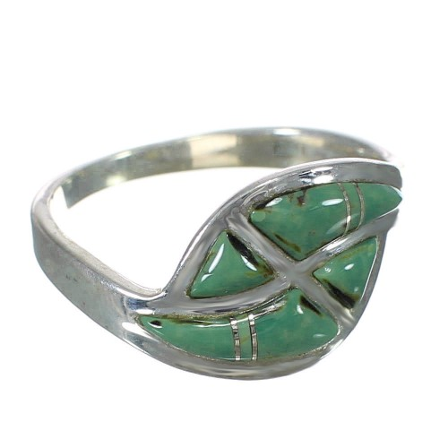 Sterling Silver Turquoise Inlay Southwest Ring Size 7-1/4 WX63087
