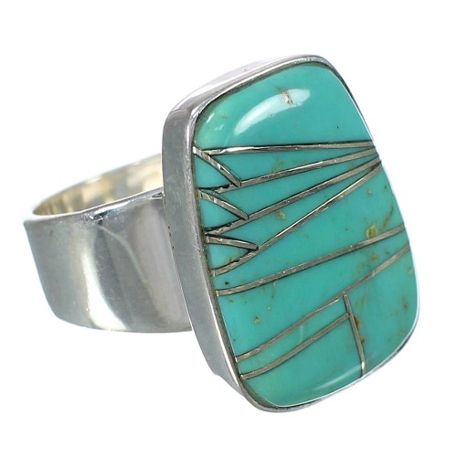 Turquoise Inlay Sterling Silver Southwest Ring Size 4-3/4 WX63094