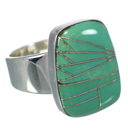 Southwest Jewelry Turquoise Inlay And Sterling Silver Ring Size 8-1/4 WX63238