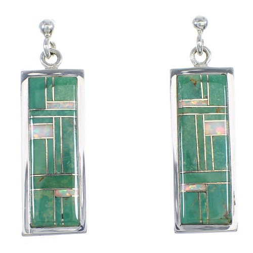 Turquoise Opal Inlay Genuine Sterling Silver Post Dangle Earrings RX66470