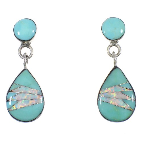 Turquoise Opal Inlay Sterling Silver Southwestern Post Dangle Earrings RX66511