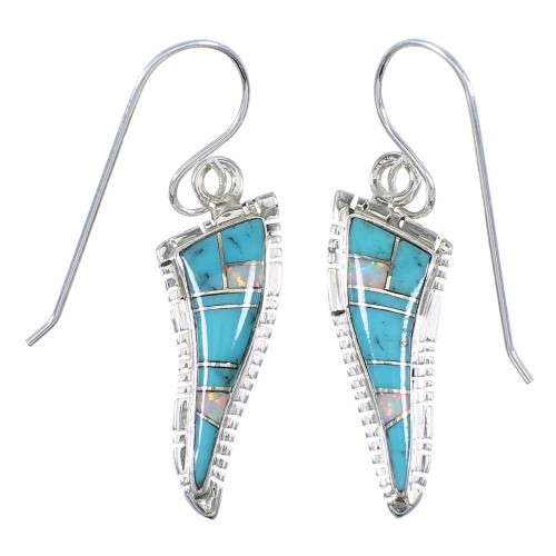 Southwest Turquoise Opal Inlay Sterling Silver Hook Dangle Earrings RX66569