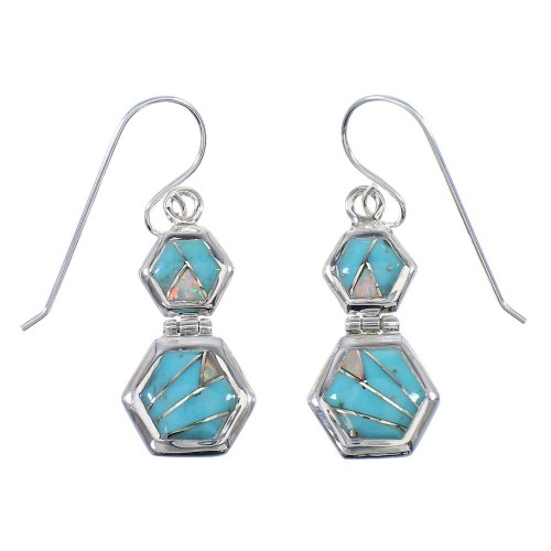 Southwestern Turquoise Opal Authentic Sterling Silver Hook Dangle Earrings RX66590
