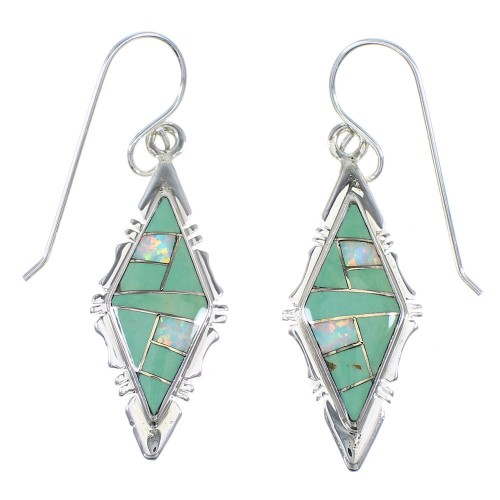Authentic Sterling Silver Turquoise Opal Hook Dangle Earrings RX66601