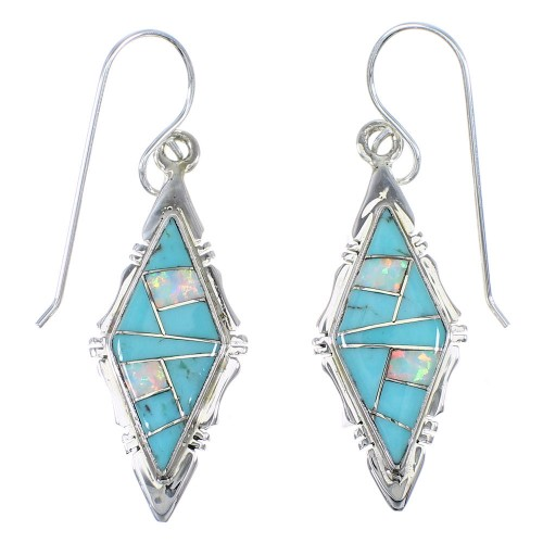 Turquoise Opal Inlay Sterling Silver Hook Dangle Earrings RX66604
