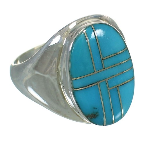 Turquoise And Genuine Sterling Silver Southwest Ring Size 9-3/4 YX70503