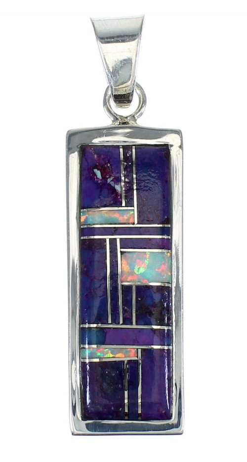Sterling Silver Magenta Turquoise And Opal Pendant MX62433