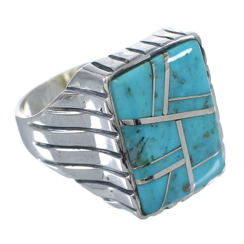 Silver And Turquoise Inlay Jewelry Ring Size 11-1/4 VX62735