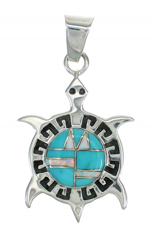 Turquoise And Opal Turtle Sterling Silver Southwest Pendant WX63445