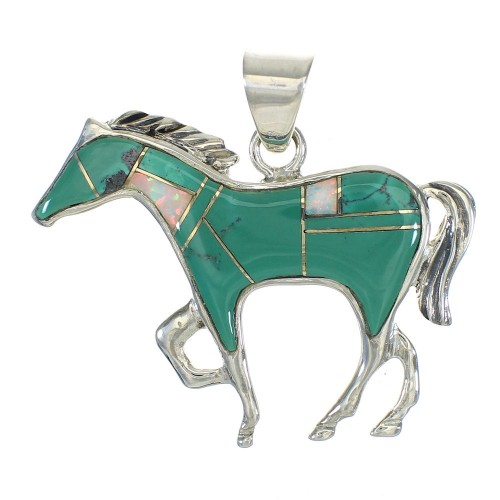 Turquoise And Opal Horse Southwest Genuine Sterling Silver Pendant WX63529
