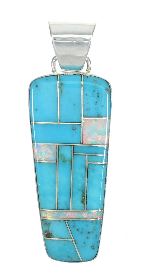 Turquoise And Opal Genuine Sterling Silver Southwestern Pendant WX63572