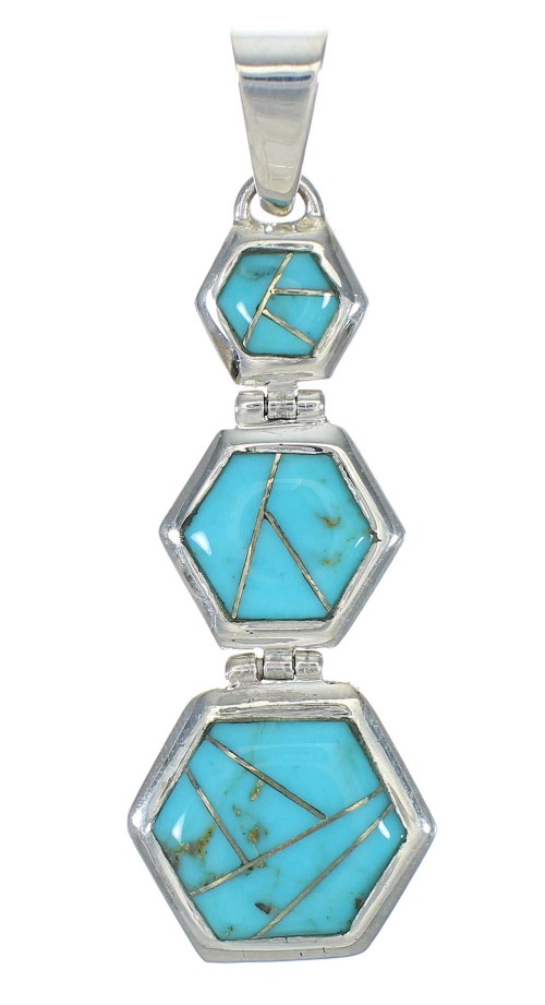 Southwest Genuine Sterling Silver Turquoise Pendant MX63074
