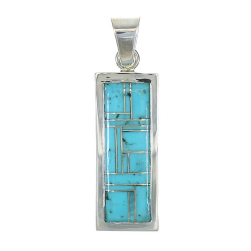 Authentic Sterling Silver Turquoise Inlay Pendant MX63081