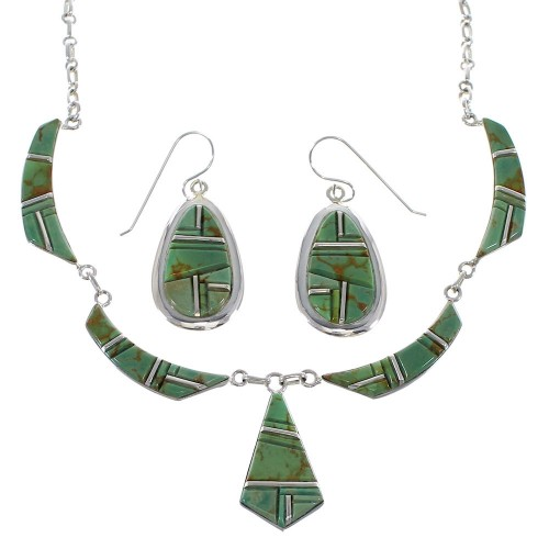 Southwest Turquoise Inlay And Sterling Silver Link Necklace Set WX76065