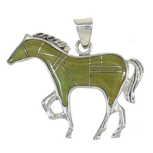 Horse Sterling Silver Southwest Turquoise Pendant MX62779