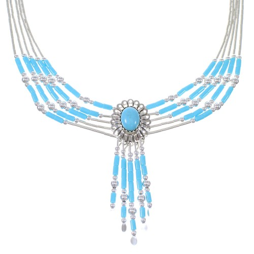 Liquid Silver And Turquoise Concho Necklace V6096