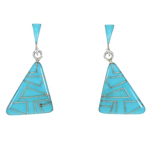 Southwest Sterling Silver Turquoise Post Dangle Earrings MX63273