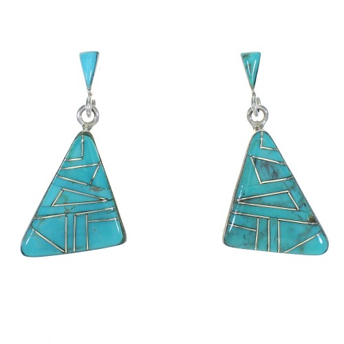 Turquoise Sterling Silver Post Dangle Southwest Earrings MX63277