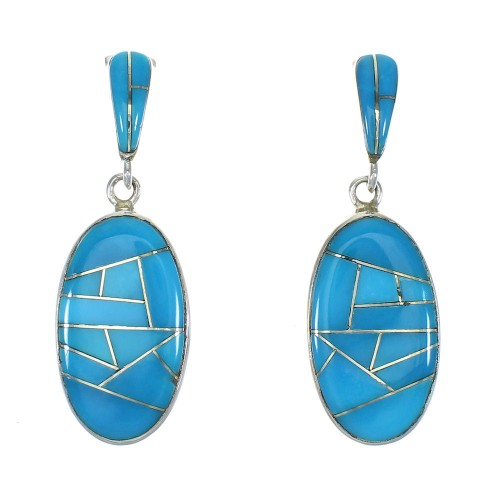 Sterling Silver Post Dangle Turquoise Inlay Earrings MX63294