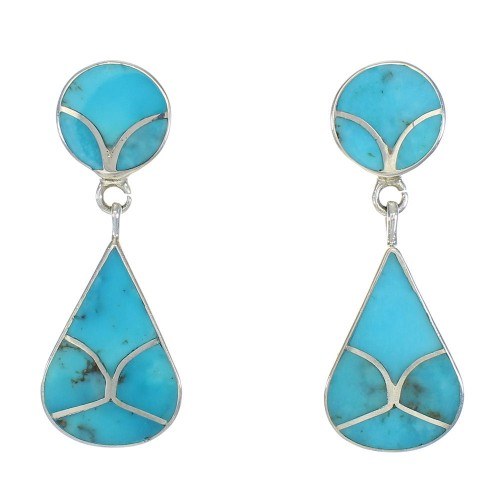 Genuine Sterling Silver Turquoise Inlay Post Dangle Earrings MX63322