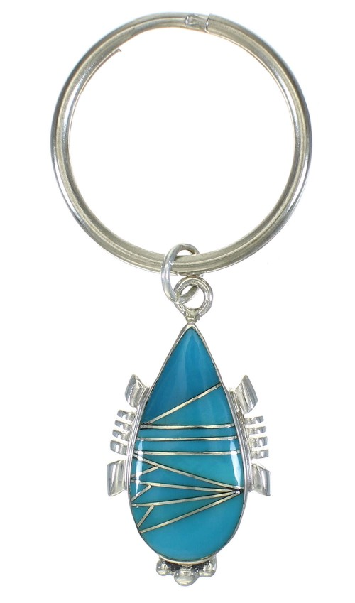 Authentic Sterling Silver And Turquoise Inlay Southwest Key Chain VX62878