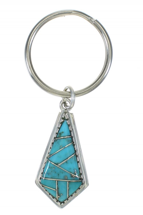Turquoise Inlay Authentic Sterling Silver Key Chain VX62883