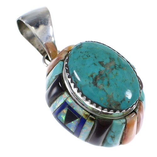 Authentic Sterling Silver And Multicolor Pendant VX64415