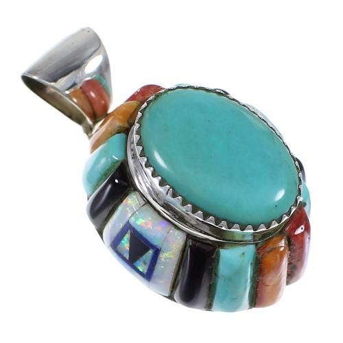 Southwest Genuine Sterling Silver And Multicolor Inlay Pendant VX64432