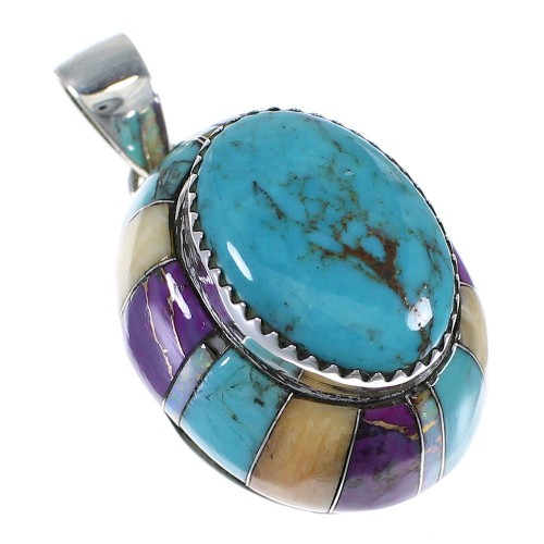 Sterling Silver And Multicolor Inlay Southwest Pendant VX64435
