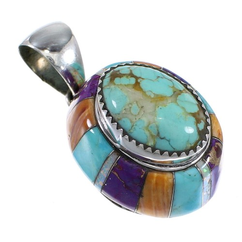 Genuine Sterling Silver And Multicolor Inlay Slide Pendant VX64441