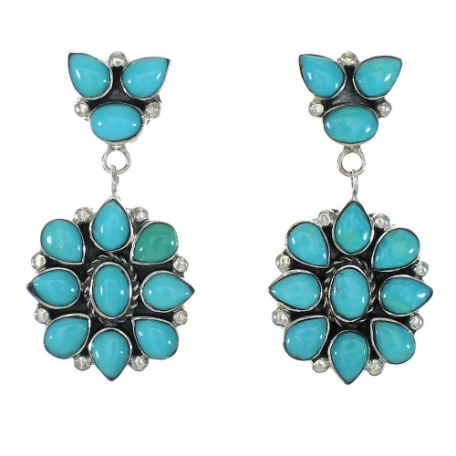 Turquoise Authentic Sterling Silver Post Dangle Earrings MX63589