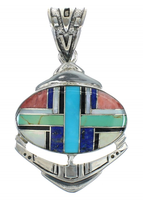 Multicolor Inlay Southwest Sterling Silver Pendant MX65381