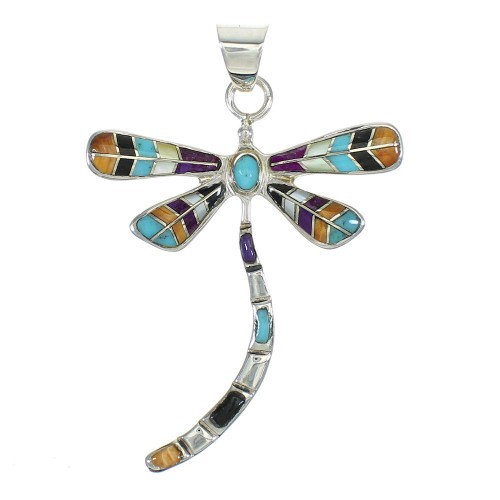 Multicolor Silver Dragonfly Pendant MX65457