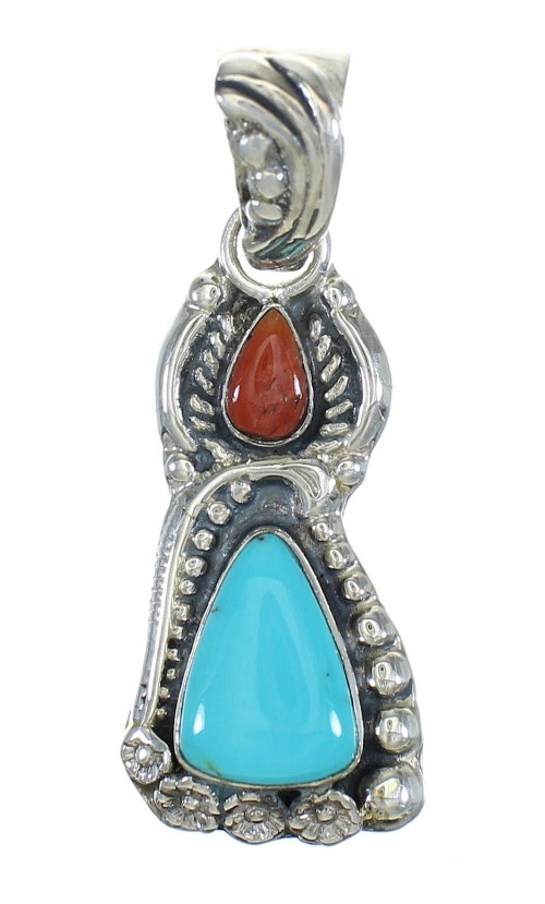 Silver Turquoise And Coral Flower Pendant MX65463