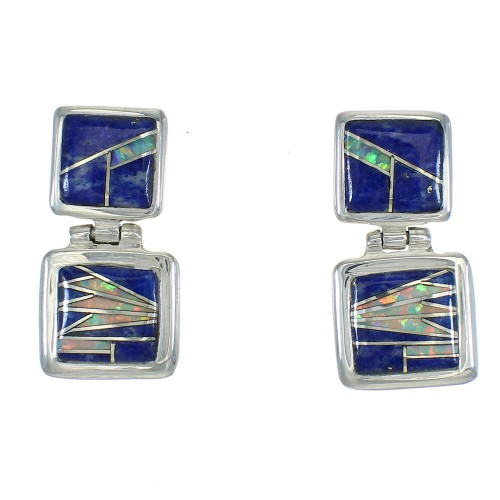 Southwest Lapis And Opal Sterling Silver Post Dangle Earrings WX63308