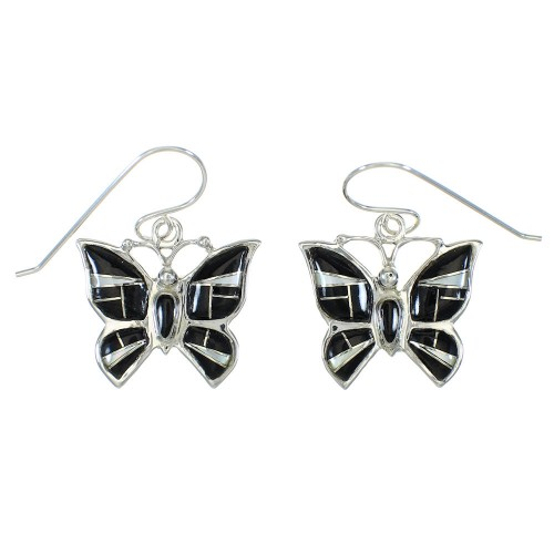Jet And Mother Of Pearl Butterfly Sterling Silver Southwest Hook Earrings WX63396