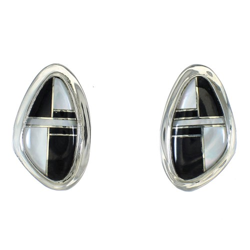Jet And Mother Of Pearl Southwestern Silver Post Earrings WX63414